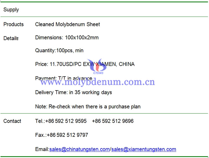 cleaned molybdenum sheet price image