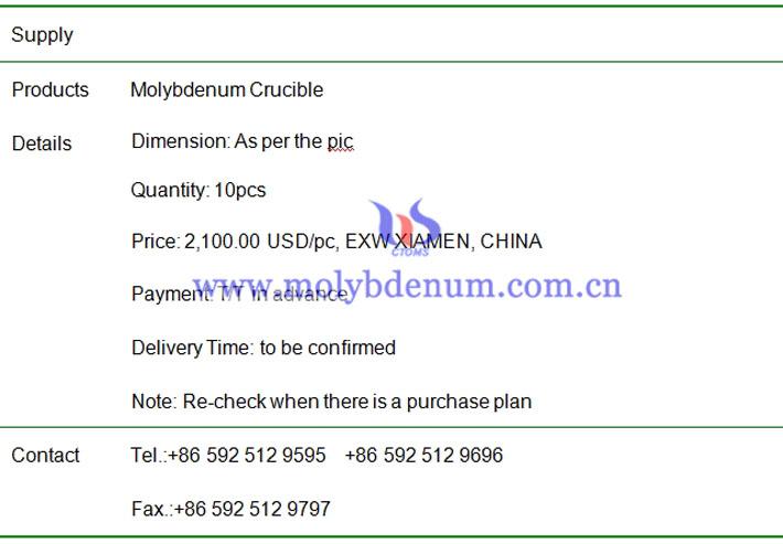 molybdenum crucible price image
