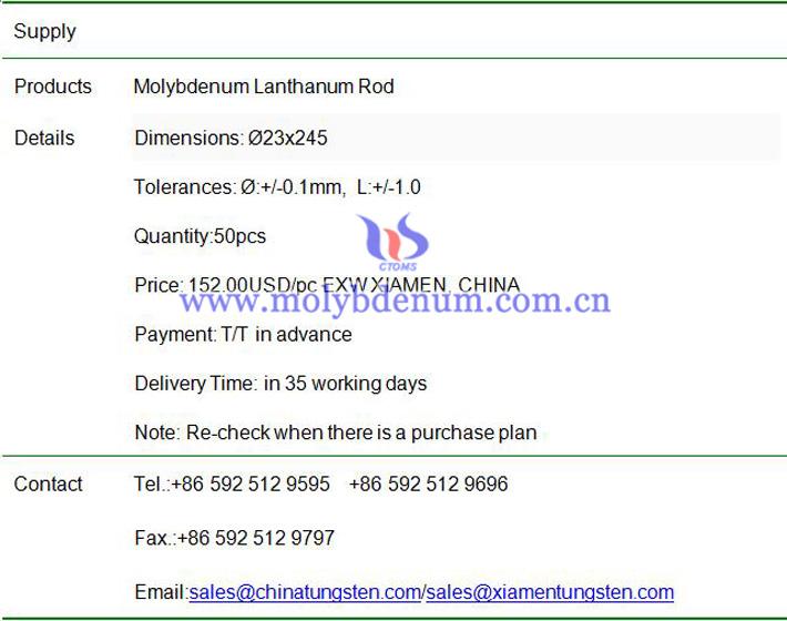 molybdenum lanthanum rod price image