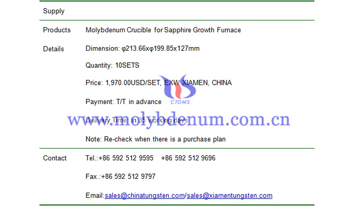 molybdenum crucible price picture