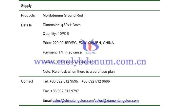 molybdenum ground rod price picture