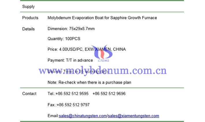 molybdenum evaporation boat price picture