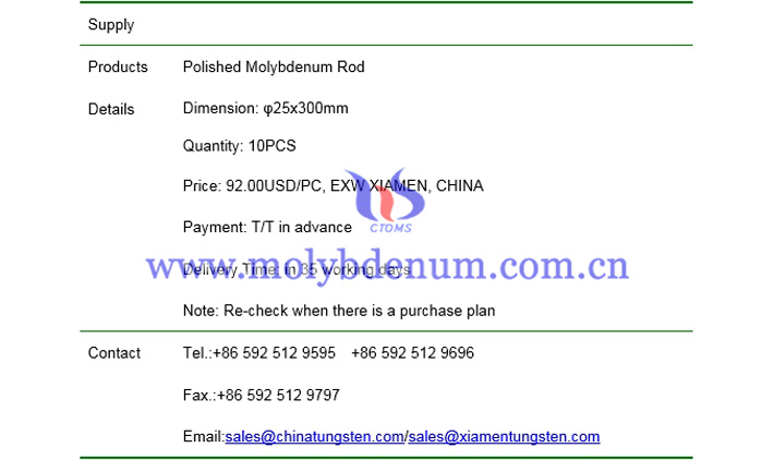 polished molybdenum rod price picture