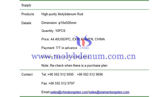 molybdenum rod price picture